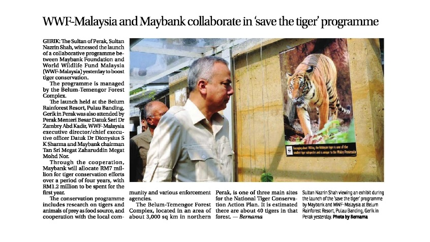 WWF-Malaysia and Maybank Collaborate in 'Save the Tiger' Programme